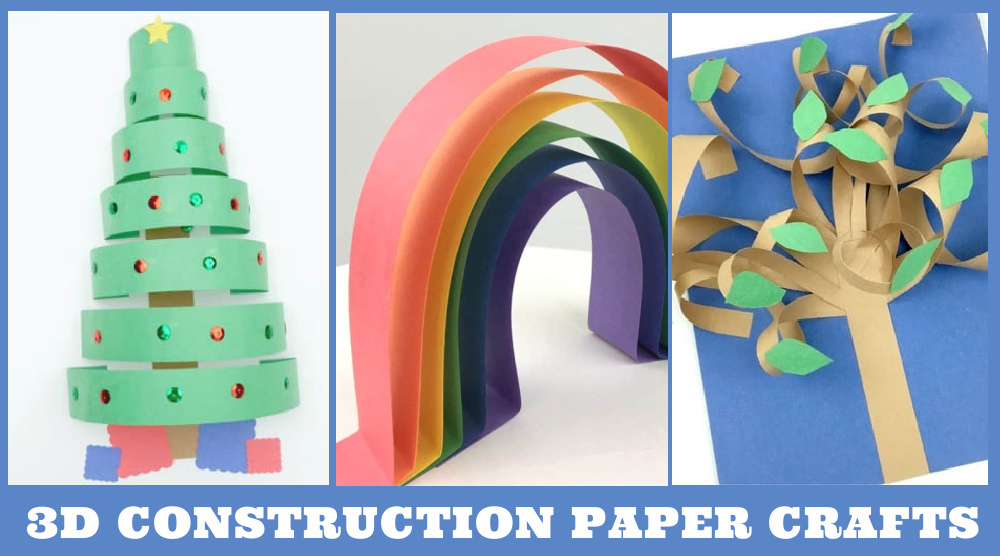 """Images of 3d paper crafts. Text reads """"3d Construction paper crafts"""""""