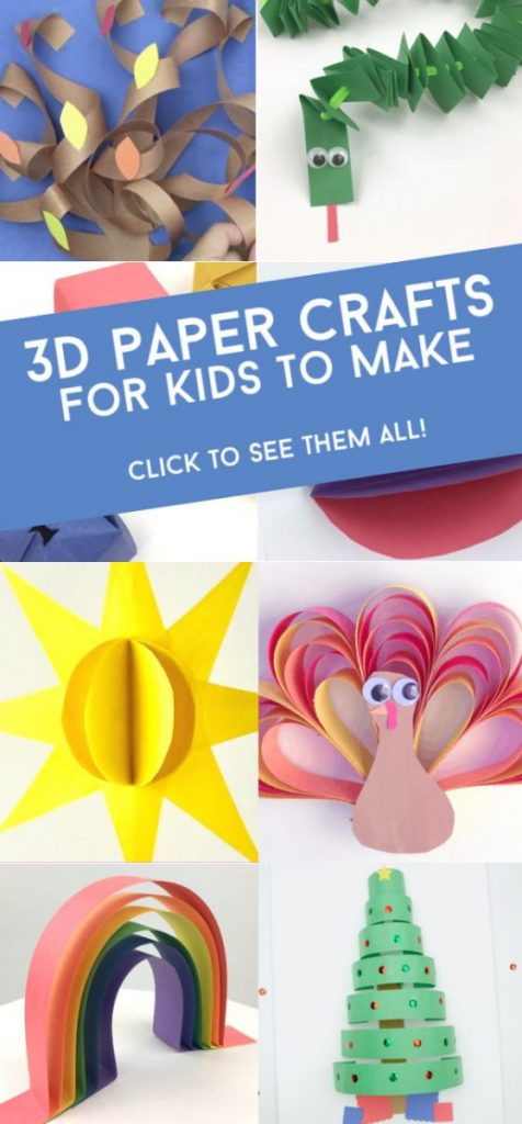 """Images of 3d paper crafts. Text reads """"3D paper crafts for kids to make. Click to see them all!"""""""