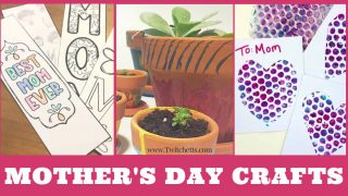 Images of Mother's day crafts. Text reads
