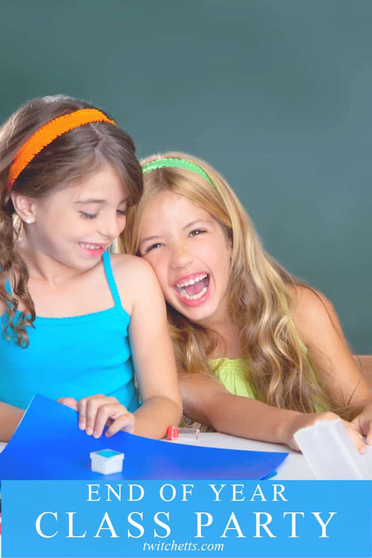 """Two smiling girls with craft supplies. Text reads """"End Of Year Class Party"""""""