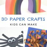 """Images of 3d paper crafts. Text reads """"3D paper crafts kids can make"""""""