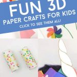 """Images of 3d paper crafts. Text reads """"Fun 3d paper crafts for kids. Click to see them all!"""""""