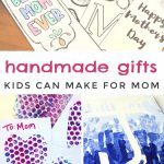 "Images of Mother's day crafts. Text reads ""Handmade gifts kids can make for mom"""