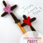 "Image of a cross pencil topper made with pipe cleaners. Text reads ""Pipe Cleaner Cross Craft"""