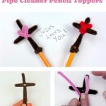"Image of a cross pencil topper made with pipe cleaners. Text reads ""Religious Easter Crafts. Pipe Cleaner Pencil Toppers"""