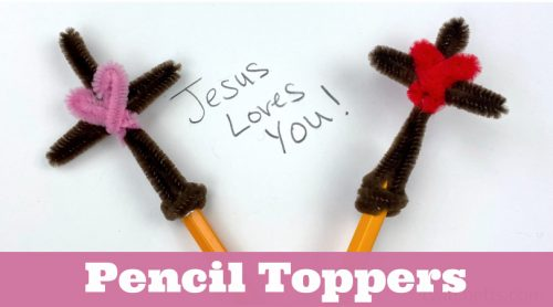 Image of cross pencil topper made with pipe cleaners.