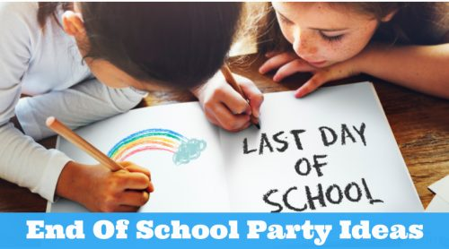 """Two children coloring in a book. Text reads """"End Of School Party Ideas"""""""