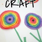 """Rainbow Paper Flowers Inspired by Wassily Kandinsky Circles. Text Reads """"Classroom Craft-Click for tutorial"""""""