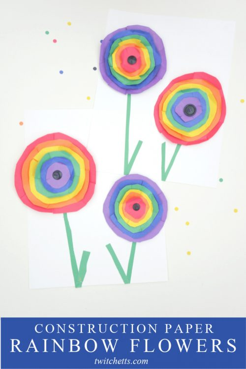 """Rainbow Paper Flowers Inspired by Wassily Kandinsky Circles. Text Reads """"Construction Paper Rainbow Flowers"""""""