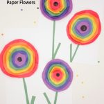 """Rainbow Paper Flowers Inspired by Wassily Kandinsky Circles. Text Reads """"Kindergarten Craft-Kandinsky Circles Paper Flowers"""""""