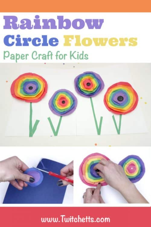 """Rainbow Paper Flowers Inspired by Wassily Kandinsky Circles. Text Reads """"Rainbow Circle Flowers. Paper Crafts for Kids"""""""