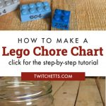 """Image of chore chart made from Lego. Text Reads """"How to make a Lego Chore chart. Click for step-by-step tutorial"""""""