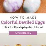 """Colorful deviled eggs. Text reads """"How to make Colorful Deviled Eggs. Click for the step-by-step tutorial!"""""""