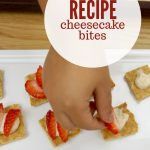 """Image of cheesecake bites topped with strawberries. Text reads """"Cheesecake bites recipe"""""""