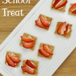 """Image of cheesecake bites topped with strawberries. Text reads """"After School Treat"""""""