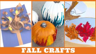 Images of fall kids crafts. Text reads