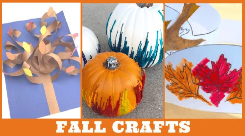 """Images of fall kids crafts. Text reads """"Fall Crafts"""""""