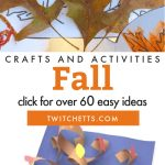 """Images of fall kids crafts. Text reads """"Fall crafts and activities. Click for over 60 easy ideas"""""""