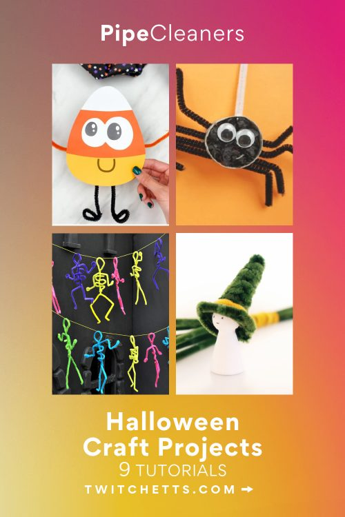"""Images of Halloween crafts made from pipe cleaners. Text reads """"Pipe cleaners - Halloween craft projects"""""""