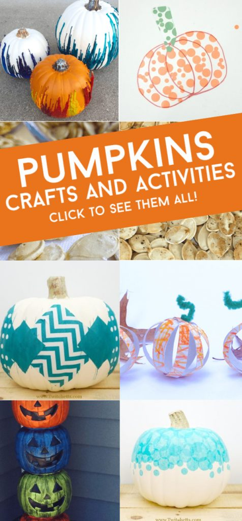 """Images of pumpkin crafts. Text reads """"Pumpkins. Crafts and Activities. Click to see them all"""""""