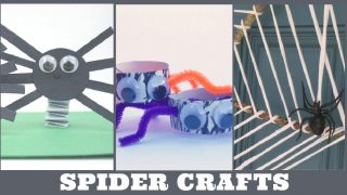 Images of spider crafts. Text Reads
