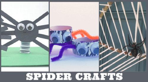 """Images of spider crafts. Text Reads """"Spider Crafts"""""""