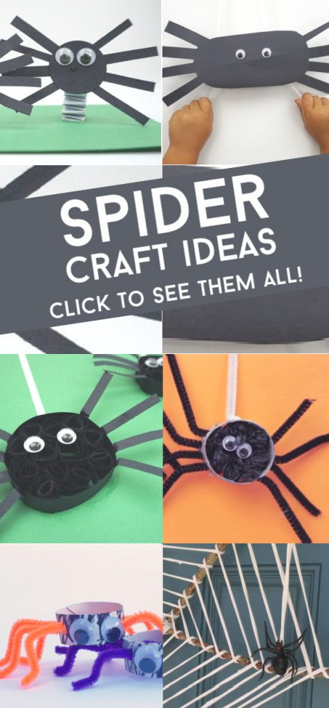 """Images of spider crafts. Text Reads """"Spider craft ideas. Click to see them all"""""""