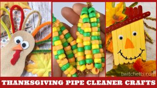 Thanksgiving crafts made with pipe cleaners. Text Reads