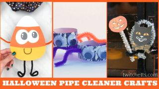 Images of Halloween crafts made from pipe cleaners. Text reads