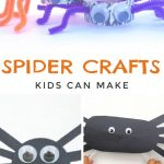 """Images of spider crafts. Text Reads """"spider crafts kids can make"""""""