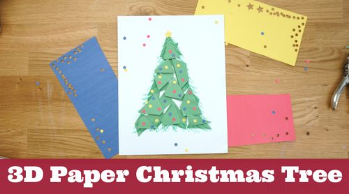 """paper Christmas tree. Text reads """"3D paper Christmas tree"""""""