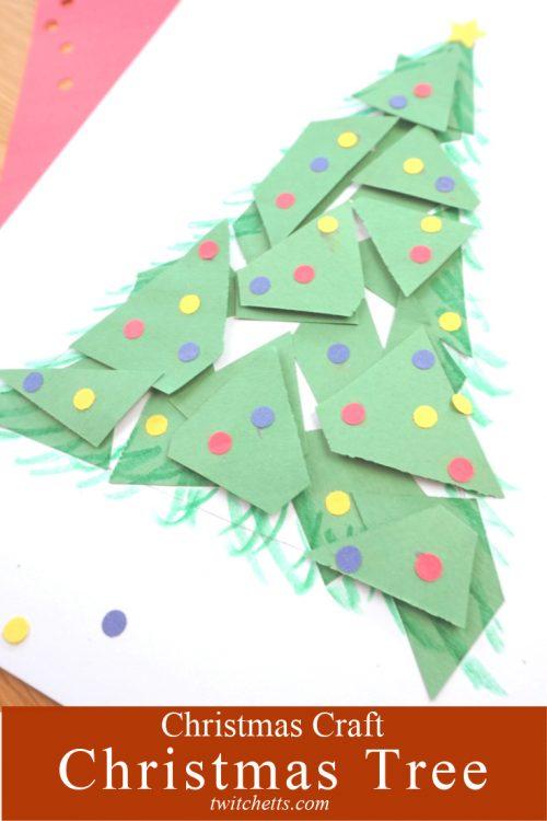 "paper Christmas tree. Text reads ""Christmas Tree - Christmas Craft"""