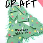 """paper Christmas tree. Text reads """"Classroom Craft - Holiday Activity"""""""