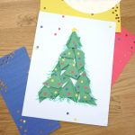 """paper Christmas tree. Text reads """"Construction Paper Christmas Tree"""""""