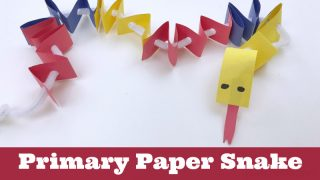 Primary Colored Paper Snake. Text Reads: