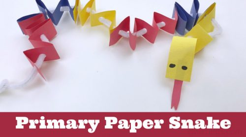 """Primary Colored Paper Snake. Text Reads: """"Primary Paper Snake"""""""