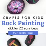 """Images of painted rocks. Text Reads: """"Crafts for kids. Rock Painting"""""""