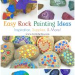"""Images of painted rocks. Text Reads: """"Easy Rock Painting Ideas"""""""