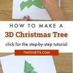 """paper Christmas tree. Text reads """"How to make a 3D Christmas tree"""""""