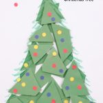 "paper Christmas tree. Text reads ""Preschool Craft - Christmas Tree"""