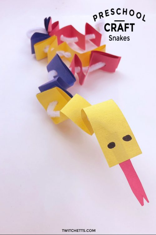 """Primary Colored Paper Snake. Text Reads: """"Preschool Craft - Snakes"""""""