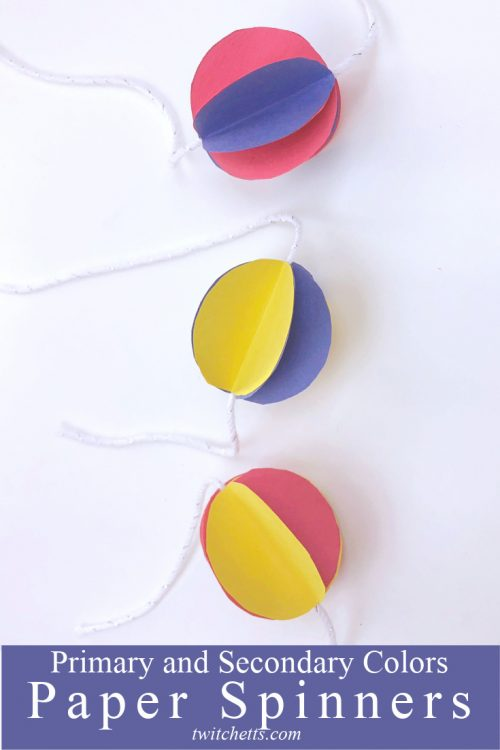 """Paper Spinner Craft. Text Reads: """"Primary and secondary colors. Paper spinners"""""""