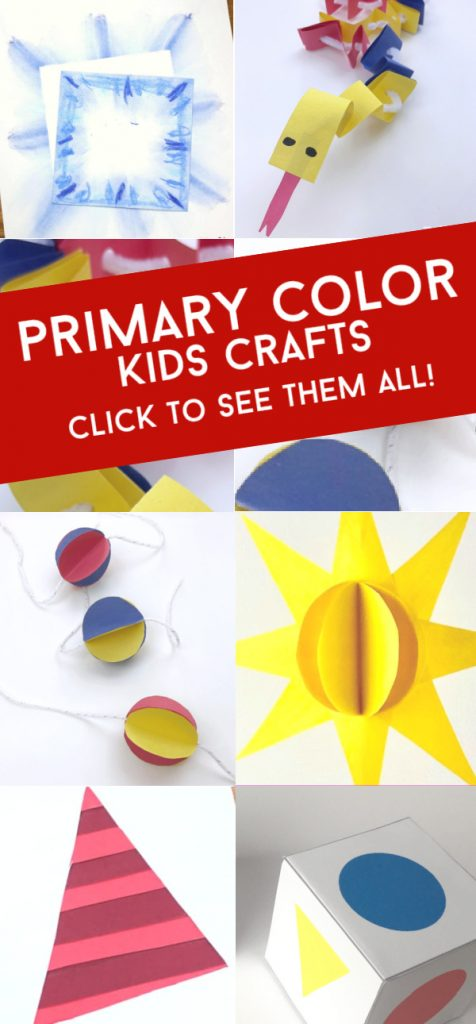 """Crafts that teach primary colors. Text reads: """"Primary color kids crafts"""""""