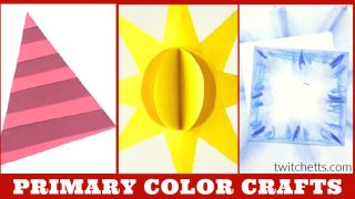 Crafts that teach primary colors. Text reads: