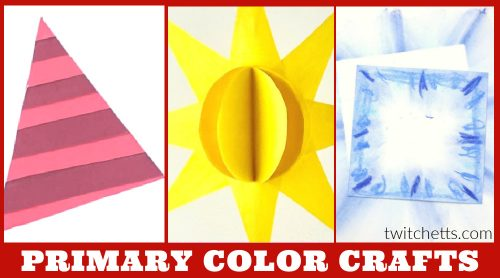 """Crafts that teach primary colors. Text reads: """"Primary color crafts"""""""