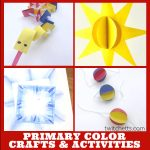 """Crafts that teach primary colors. Text reads: """"Primary color crafts & activities"""""""