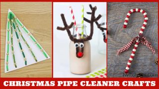 Christmas crafts with pipe cleaners. Text reads: