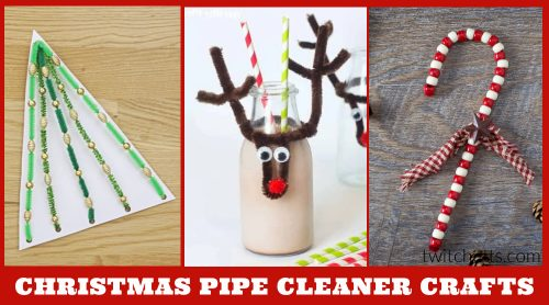 """Christmas crafts with pipe cleaners. Text reads: """"Christmas pipe cleaner crafts"""""""
