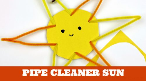 """Easy Sun Craft. Text Reads: """"Pipe Cleaner Sun"""""""