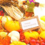 "cornucopia and scarecrow. Text reads ""Thanksgiving Kids Party Ideas"""